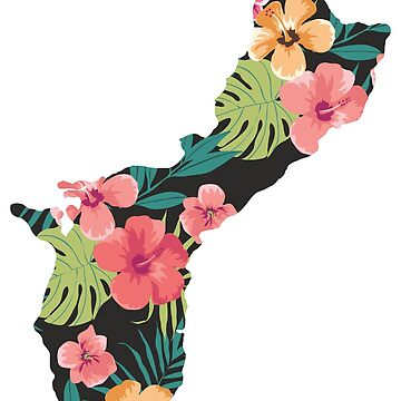 Guam Map - Floral by personalitee