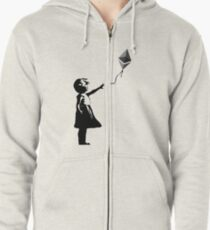 Ethereum Balloon Girl - Banksy Loves Bitcoin Series (the ORIGINAL design) Zipped Hoodie