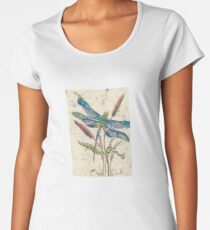 Dragonfly and Cattails Women's Premium T-Shirt