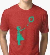 Siacoin Balloon Girl - Banksy Loves Bitcoin Series  Tri-blend T-Shirt
