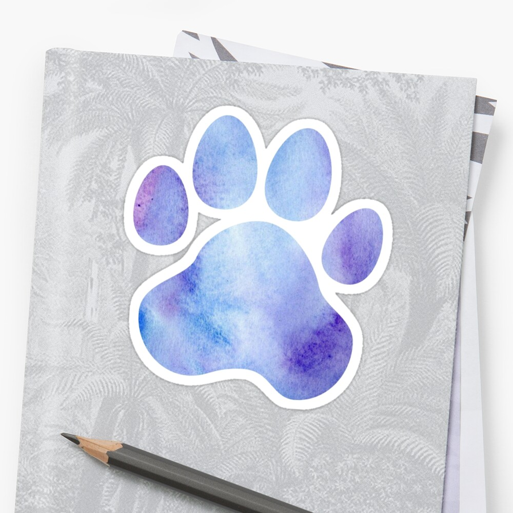 Blue and Purple Paw Print  by annmariestowe
