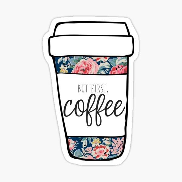 But First, Coffee Navy Floral Mug Sticker
