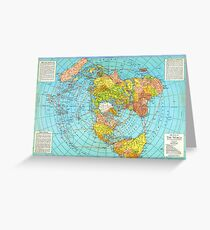 FLAT EARTH Air Map of the World - Polar Azimuthal Equidistant Projection Greeting Card