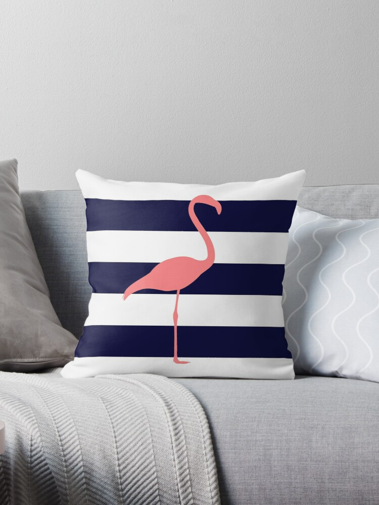 Tropical Pink Flamingo On Navy Blue And White Stripes by rewstudio