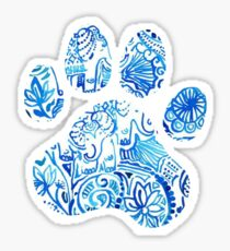 Blue Elephant Paw Print Sticker