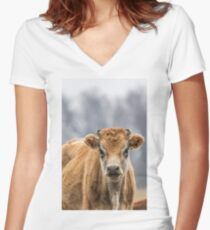 Cow 1 Women's Fitted V-Neck T-Shirt
