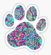 Bright Floral Paw Print Sticker
