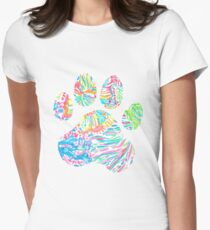 Vibrant Floral Paw Print Womens Fitted T-Shirt