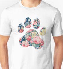 Navy Floral Paw Print Unisex T-Shirt