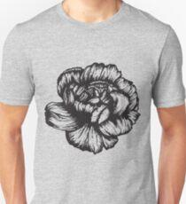 Carnation February Birth Flower - Black & White Pen Drawing  Unisex T-Shirt
