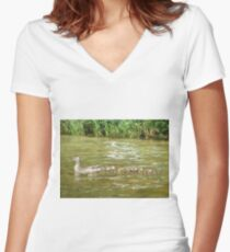 A Dozen Ducklings Women's Fitted V-Neck T-Shirt
