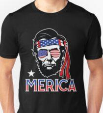 Merica - Lustiges Abe Lincoln 4. Juli Hüfte amerikanisches T-Shirt Slim Fit T-Shirt