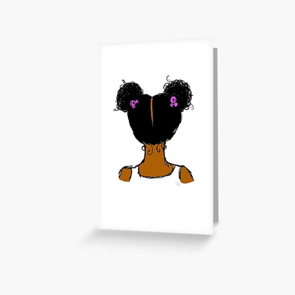 Girl with Afro Puffs - Gold Souls Original Sketch Greeting Card
