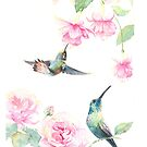 """Gift"" - Watercolor Hummingbirds and Fuschia by Mariya Prytula"