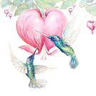 """Bleeding Heart"" - watercolor hummingbirds and bleeding heart by Mariya Prytula"