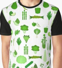 Vegetarian pattern with green vegetables and fruits Graphic T-Shirt