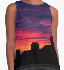 Beautiful Sunset over silhouetted chimney Pots  Contrast Tank