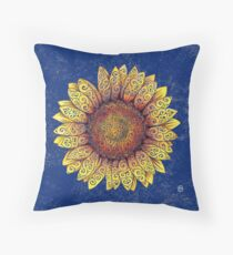 Swirly Sunflower Throw Pillow