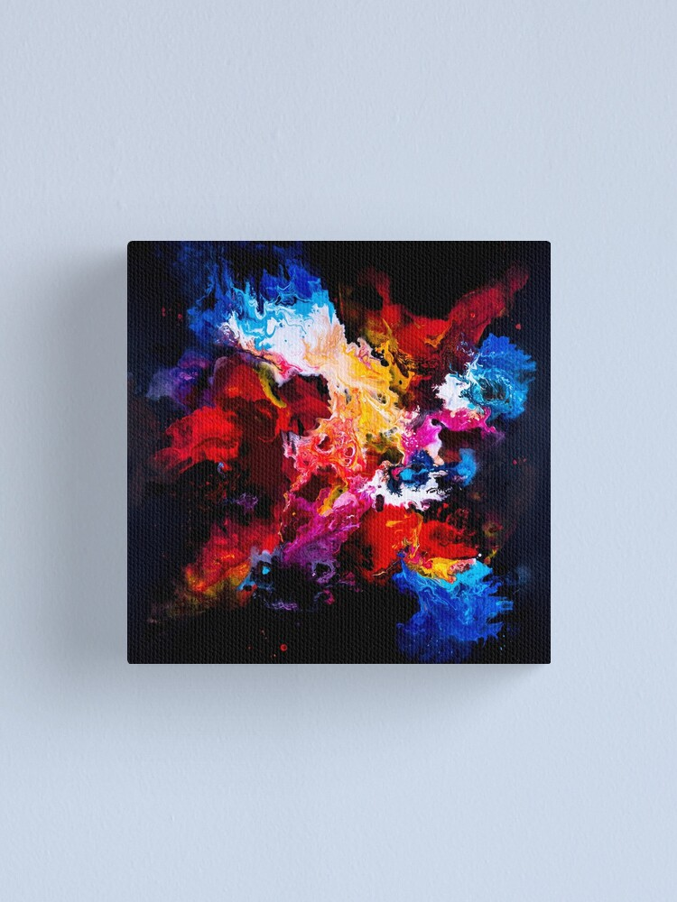 Creative Colorful Abstract Painting On Black Background Canvas Print By Artlu Redbubble