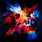 Creative colorful abstract painting on black background by Lusy Rozumna