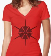 Snowflake 17 black Women's Fitted V-Neck T-Shirt