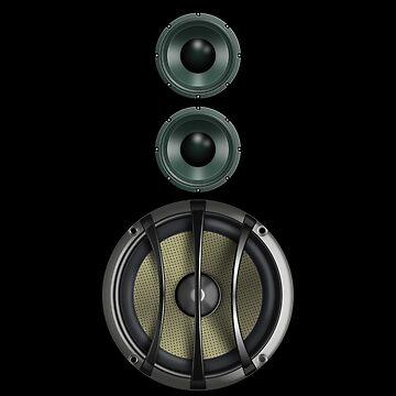 Black Speaker T-Shirt - Woofer Sticker Music Duvet Cover by deanworld