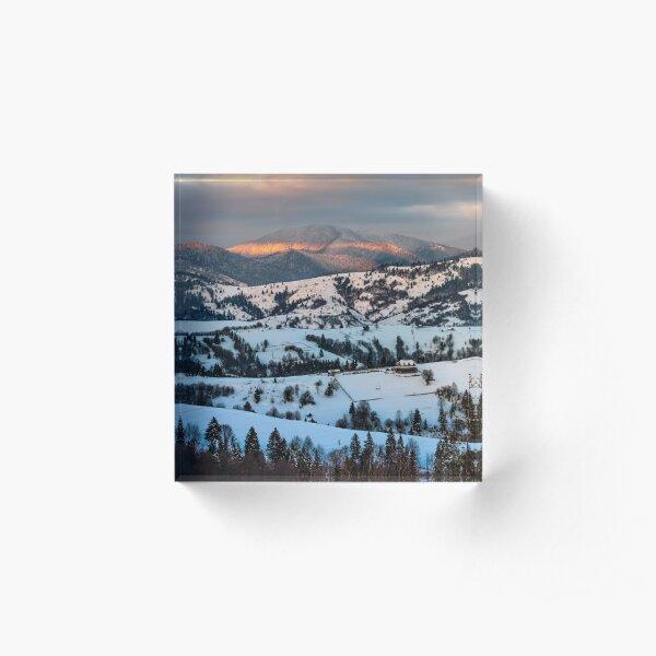sunrise in winter carpathians Acrylic Block