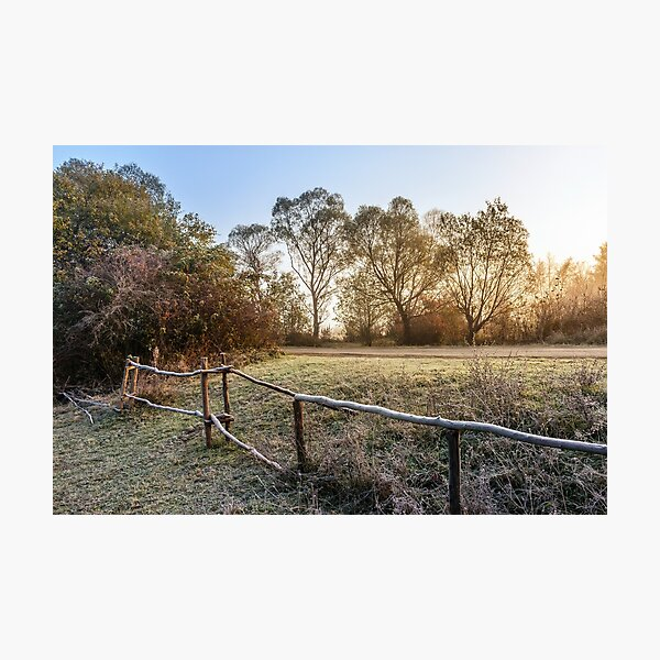 wooden fence in fog on frozen meadow at sunrise Photographic Print