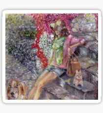 Girl with hat and two dogs Sticker