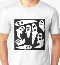 illustration  with set of ghosts on black background T-Shirt