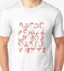 colorful illustration  with red alphabet on white background Unisex T-Shirt