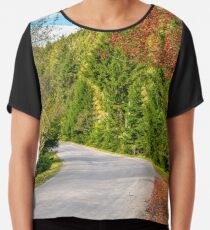 road through the forest in mountains Chiffon Top