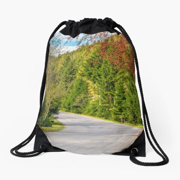 road through the forest in mountains Drawstring Bag