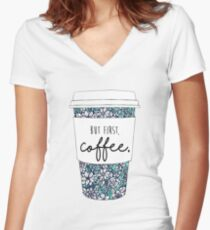 Floral Coffee Women's Fitted V-Neck T-Shirt