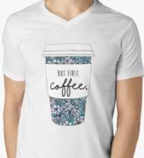 Floral Coffee Men's V-Neck T-Shirt