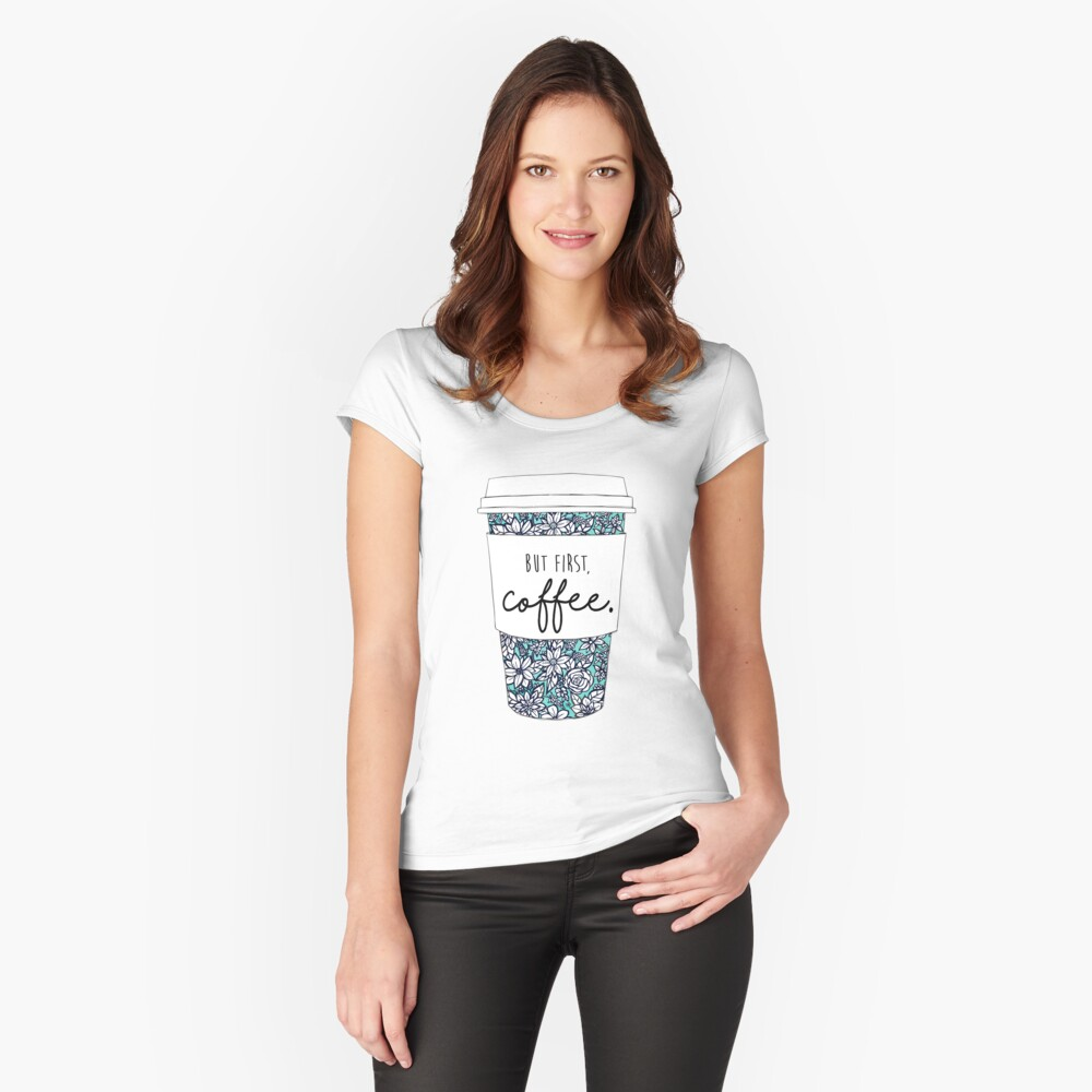 Floral Coffee Fitted Scoop T-Shirt