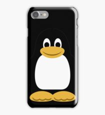 Linux Tux Cartoon (Black) iPhone Case/Skin