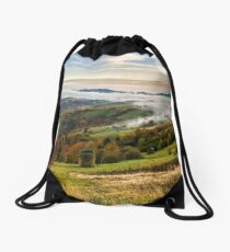 foggy and hot sunrise in Carpathian mountains Drawstring Bag