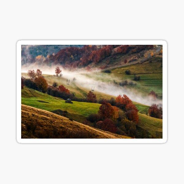 foggy sunrise in Carpathian mountains Sticker