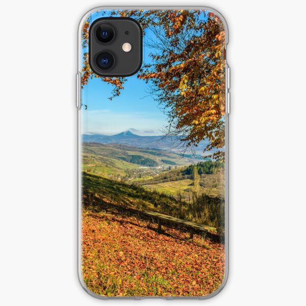 landscape with forest in red foliage on sunny autumn day iPhone Soft Case