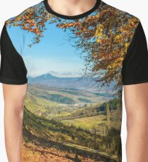 landscape with forest in red foliage on sunny autumn day Graphic T-Shirt