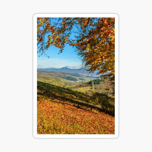 landscape with forest in red foliage on sunny autumn day Sticker