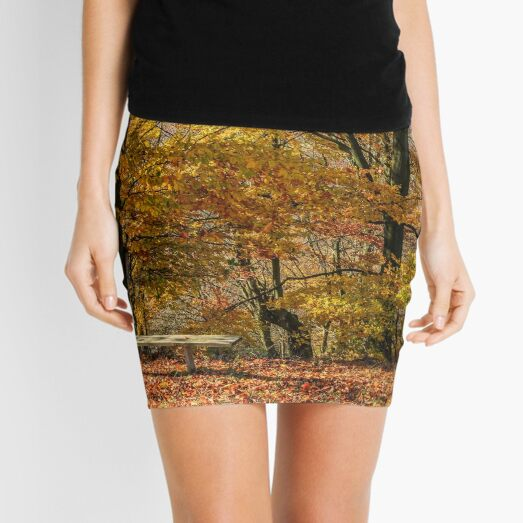 forest in red foliage on sunny autumn day Mini Skirt