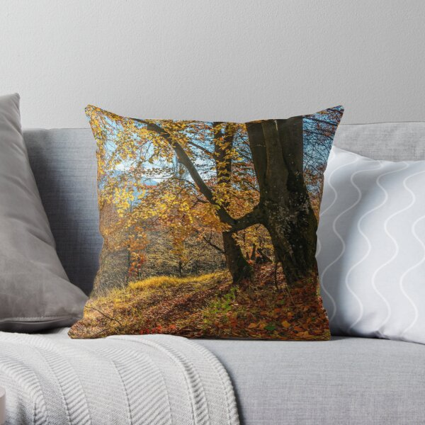 autumn forest in foliage Throw Pillow