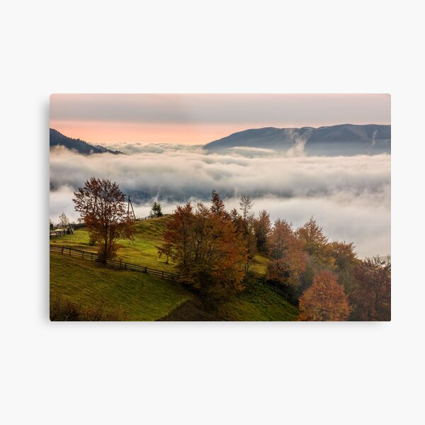 foggy sunrise in high mountains Metal Print