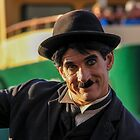 Charlie Chaplin? In front of Sydney ferry and Sydney Harbour Bridge by indiafrank