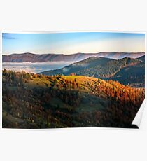foggy and hot sunrise in Carpathian mountains Poster