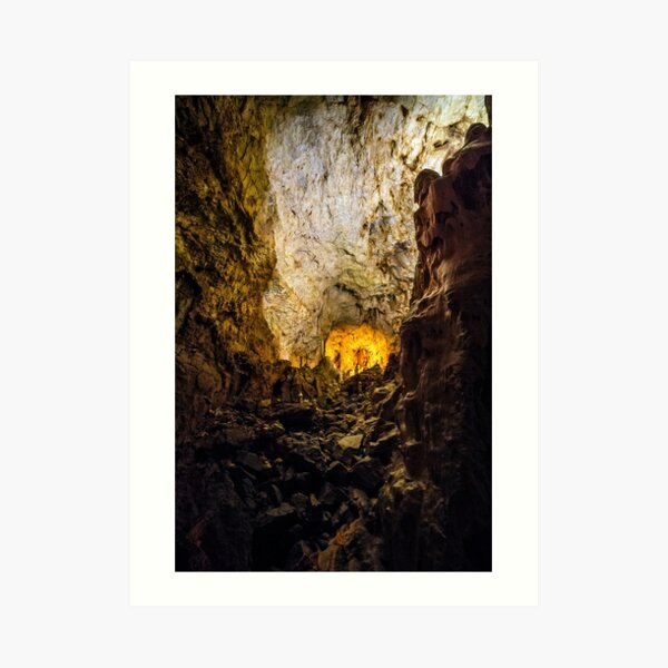 cave with colourful textured walls Art Print