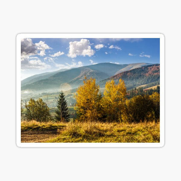 foggy and hot sunrise in Carpathian mountains Sticker