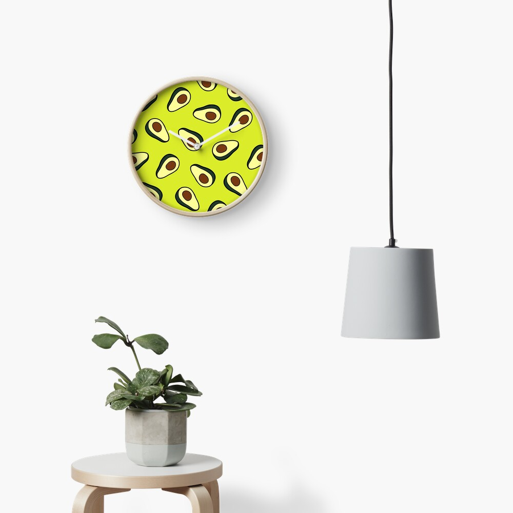 Avocado Pattern Clock